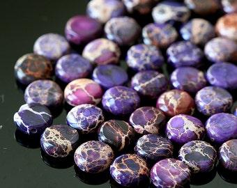 8mm Gemstone Coin Beads - Aqua Terra - Jewelry Making Supplies - Purple (16 inch strand  - 50 beads)