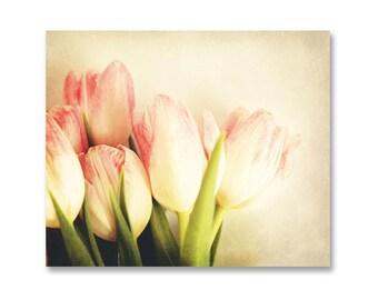 Spring Tulips Photography, Peach Tulip Still Life Print, Vintage Style Tulip Photo, Cottage Chic Home Decor, Spring Garden Still Life, 8x10