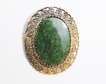Vintage Brooch, Pendant: Filigree Vermeil Sterling with Green Stone