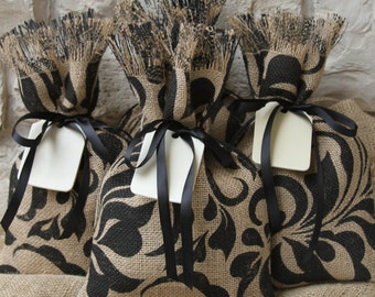 Burlap Gift Bags, Set of FOUR, Damask Leaf, Shabby Chic Wedding, All Occasion, Black and Natural, Black Ribbon and Natural Wood Tag.