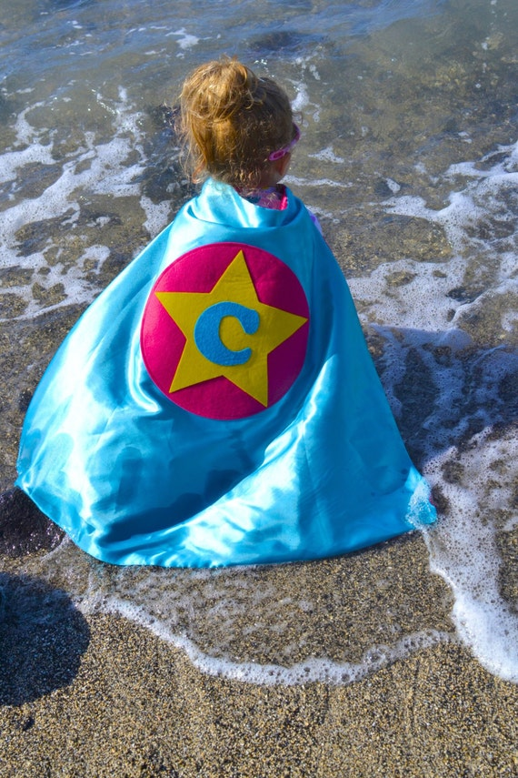 Rock Star Cape Personalized Letter Halloween Turquoise and Hot Pink , 2T - 7T, custom colors pretend play, waldorf dress-up, imaginary play