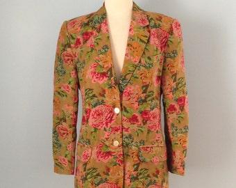 Vintage linen blazer / Gap Linen Floral Blazer
