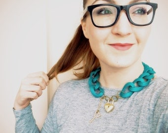 Blue Statement Necklace, Lock Necklace, Chunky Chain Necklace with Pad Lock Detail, Teal Necklace