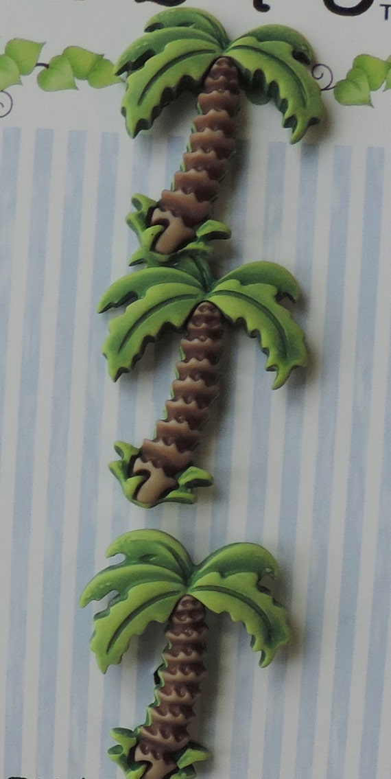 Palm Tree Buttons, Carded Novelty Buttons by Buttons Galore, Bazooples Collection, Shank Back Buttons, Set of 3, Sewing, Crafting, Embellish