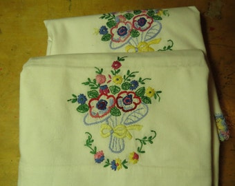 PAIR Vintage Cotton Embroidered Floral Pillowcases Hand Embroidered And Crochet Lace
