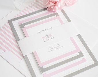 Pink & Gray Wedding Invitation - Pink Invitation - Chic - Pastel - Modern Initials Wedding Invitation - Sample Set