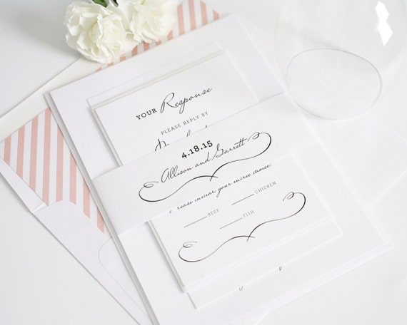 Chic Wedding Invitation - Woodland, Romantic, Vintage, French Country, Rustic Invitation, Blush Pink  - Deposit to Get Started