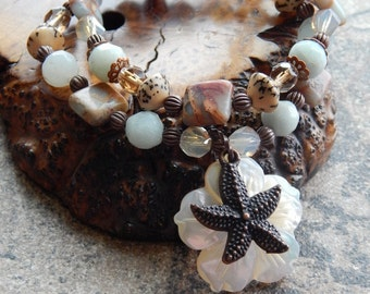 Starfish Bracelet set, seashell bracelet, mermaid jewelry, impression jasper, amazonite, stacking bracelets, beachy boho style, ocean lover