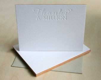 Letterpress Edge Painted Notecards - Thanks A Million Notes