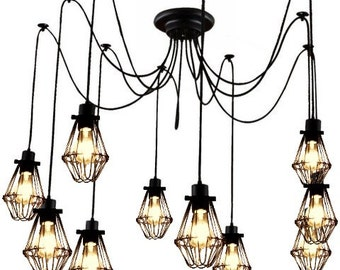 Industrial Cage Pendant Chandelier - 5 , 7 , 9, or 14 Pendants Modern lighting Industrial Chandelier Black Hanging Pendants industrial light