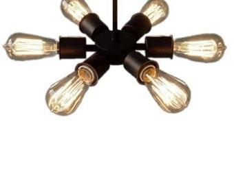 Circle 6 Bulb Vintage Edison Industrial Lighting Ceiling fixture Pendant Light Rustic Antique Lamp Chandelier - Hangout Lighting