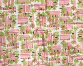Tribal Leaf Cotton Fabric Hawaiian Yardage Red and White
