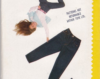 ESPRIT Girls High Waist Skirt & Jeans Pattern Butterick 6144 Vintage 80s Sewing Pattern Size 7 8 10 or 12 - 14