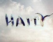 Happy.  Blue skies.  Inspirational Photography Print. Feather Art Photo Print.