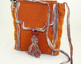 Small Shoulder Bag w Raw Silk Bands and Art Glass Button