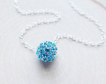 Rhinestone Pave Necklace, Aquamarine Teal Blue Rhinestone Ball Crystal, Sterling Silver Necklace, Gift for Her, Bridal Necklace