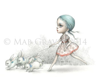 The Bunny Runner - Limited Edition signed numbered 8x10 Pop Surrealism Fine Art Print - by Mab Graves -unframed
