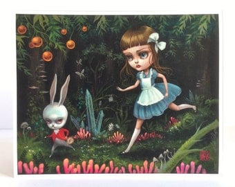 Alice Follows the White Rabbit - Limited Edition Alice in Wonderland signed numbered 8x10 pop surrealism Fine Art Print by Mab Grav