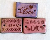 LOVE Rectangular Focal Bead flowers hearts Pink Purple Brown Ceramic Connector Bead Pendant Bead Embellishment Jewelry Components Bracelet