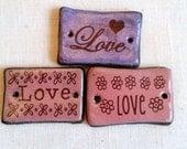 LOVE Rectangular Focal Bead flowers hearts Pink Purple Brown Ceramic Connector Bead Pendant Bead Embellishment Jewelry Components Bracelet