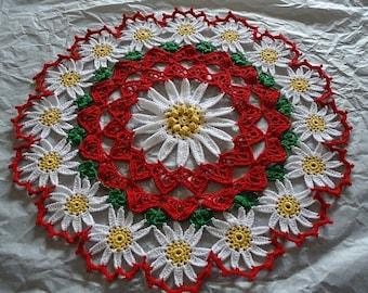 Holiday Christmas Crochet Beautiful Flower Doily