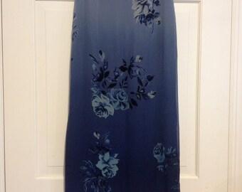 90s Silk Roses Ombre Maxi Skirt Slits