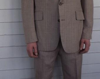 1970s Mens Suit 3 Piece Vintage 70s Jacket Vest Pants Marx 34 Waist 40 41