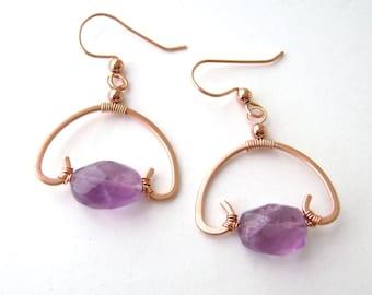 Amethyst Earrings, Copper Wire Wrapped, Half Circle, Faceted Amethyst, Drop Earrings, 906