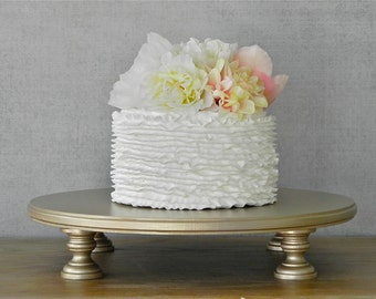 "14"" Cake Stand Wedding Champagne Round Cupcake Wedding Grooms Cake Plate Event Decor E.Isabella Designs Featured In Martha Stewart Weddings"