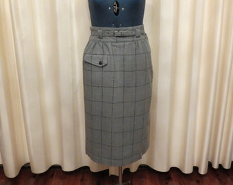 Vintage 80s High Waisted Greenish Grey Wool Checkered Skirt