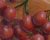 Original ACEO Painting, Small Acrylic Painting of Grapes, Still Life Painting Red and Gold