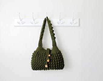 Crochet bag - Hobo Sling Bag in Dark Green - Crochet Tote