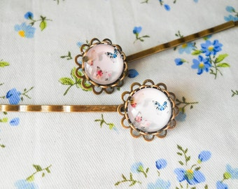 Glass Cabochon Hair Pins, Butterfly Hair Pins, Butterfly Bobby Pins, Vintage Hair Pins, Antique Bronze Bobby Pins, Butterfly Cabobchon
