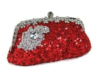 Red Bridal Clutch, Evening Bag, Vintage Style Clutch, Sequin Clutch, Beaded Clutch, Rhinestone Clutch