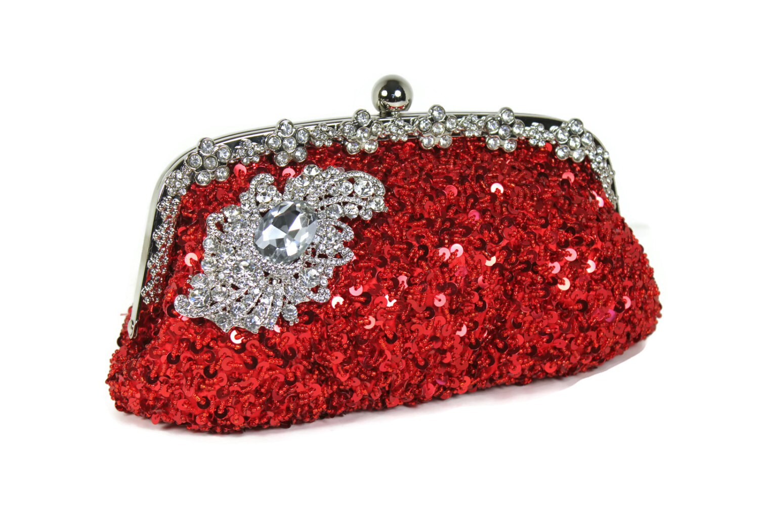 Red Bridal Clutch Evening Bag Vintage Style Clutch Sequin
