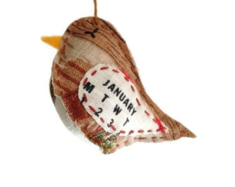 Bird Ornament - January - Repurposed Vintage Calendar Tea Towel - Hand Embroidered