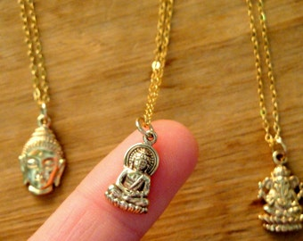 Buddha Charm Necklace - Natural Bronze Charm 14K Gold Filled Necklace