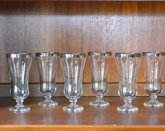 vintage 1960s silver rimmed hurricane style champagne glasses
