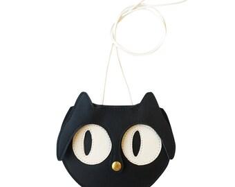 Mini Black Cat Bag, childrens bag, kids bag, Cat Bag, leather bag, kids purse, animal bag