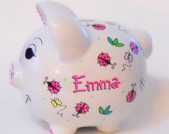 Personalized Piggy Bank Pink Ladybugs and Butterflies