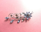 Vintage Brooch 40s Krementz Designer Rhinestone Floral Spray Pin - on sale