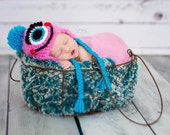 Pink Fuzzy Monster Hat/ Baby Monster Hat/ Pink Monster Hat/ Newborn Baby Monster Hat, Pink Newborn Photo Prop, One Eye Monster Hat