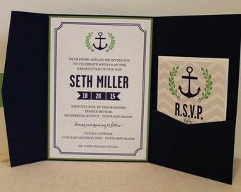 Nautical Bar Mitzvah Invitation