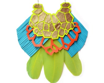 Neon Yellow Geometric Necklace, Green Feather Statement Necklace, Turquoise Fringe Geometric Jewelry