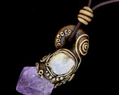 FREE SHIPPING---Amethyst Point Leaves Swirls Moonstone Pendant Leather Necklace---Polymer Clay---Creations by Sandy