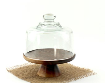 Walnut Cake Stand with Glass Dome / Wooden Cake Plate Pedestal Cake Stand Rustic Cupcake Tray