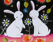 Rabbits in the Rose Garden : Matted Print of a Folk art Painting -whimsy, Wall Art, Rabbit  illustration by Gloria Marco