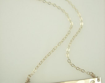 Wave Bar Necklace- Gold Bar Necklace in Silver or Gold - Nameplate Necklace