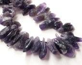 Amethyst Stick Point Beads - Dark Purple Rough Cut Nugget - 16-22mmx7mm - Top Drilled - Freeform Raw Stone - (12) Pcs - Jewelry Making
