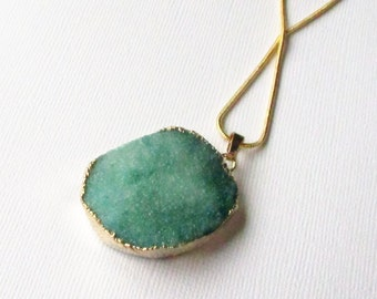 Green Druzy Pendant - Green Crystal Geode Druzy - Edged Gold Pendant - Agate Gemstone Teardrop - DIY Druzy Jewelry - With/Without Chain